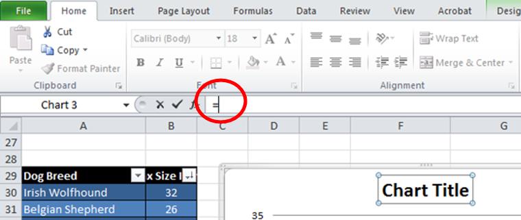 Excel Chart Formula Bar cursor