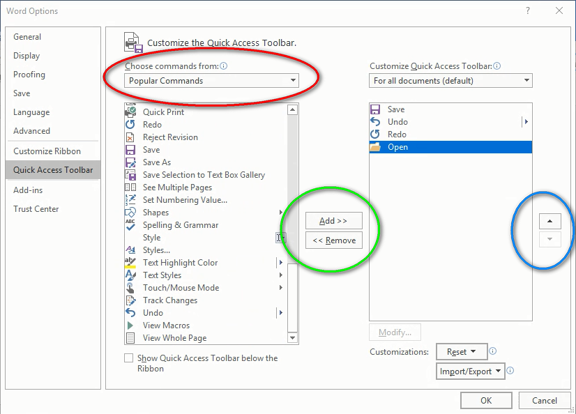 MS Office / Word / Excel / PowerPoint: Customize Your Quick